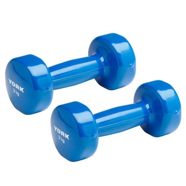 York Fitness 3kg PVC Dumbbells