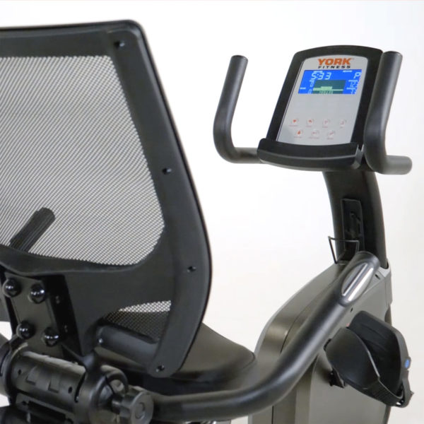 York Fitness LC-RB Recumbent Bike LCD screen and chair