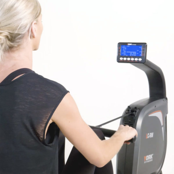 York Fitness LC-RW Rower model looking at LCD screen
