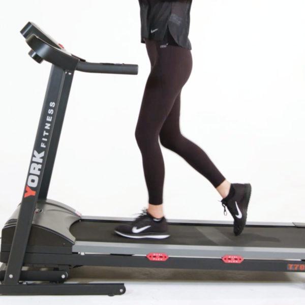 York Fitness T700 Treadmill model walking close-up