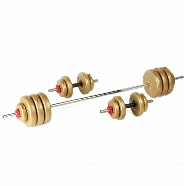 York Fitness 50KG Vinyl Dumbell and Barbell Set