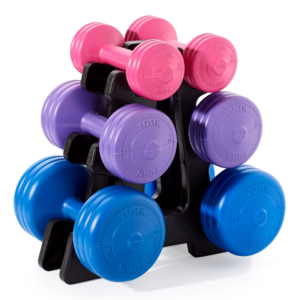 York Fitness Vinyl Dumbell 19KG Set with Stand
