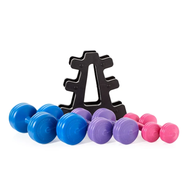 York Fitness Vinyl Dumbell 19KG Set with Stand-2