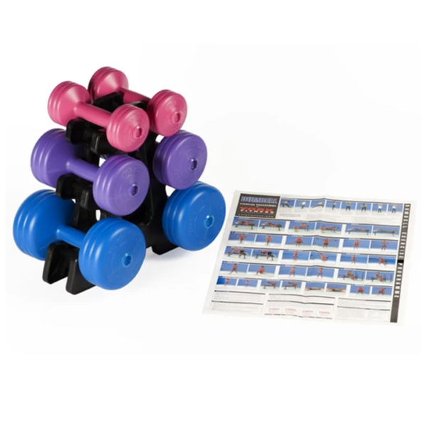 York Fitness Vinyl Dumbell 19KG Set with Stand-3